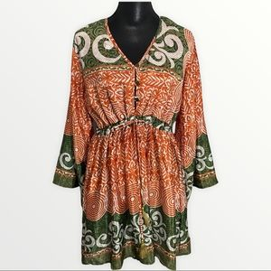 All About Aud Medium Dress Olive Green Coral White
